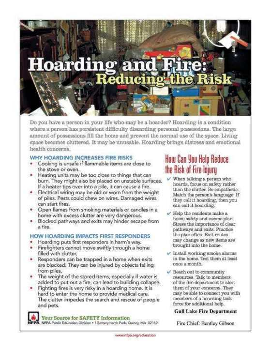 Hoarding and Fire Reducing the Risk GULL LAKE Health & Wellness  Gull Lake Fire Department Community