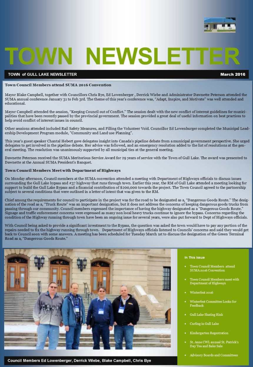 Town March Newsletter Education Government GULL LAKE  Winterfest Volunteers Town Council Newsletter Mayor's Report Events