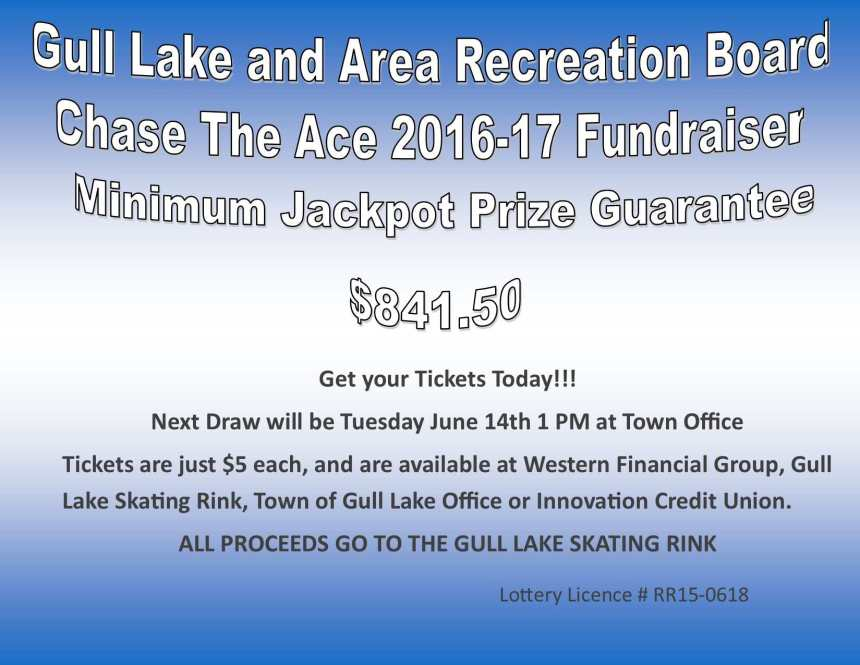 Pam Kirwan Wins this Weeks Chase the Ace Draw GULL LAKE  Gull Lake Recreation Complex