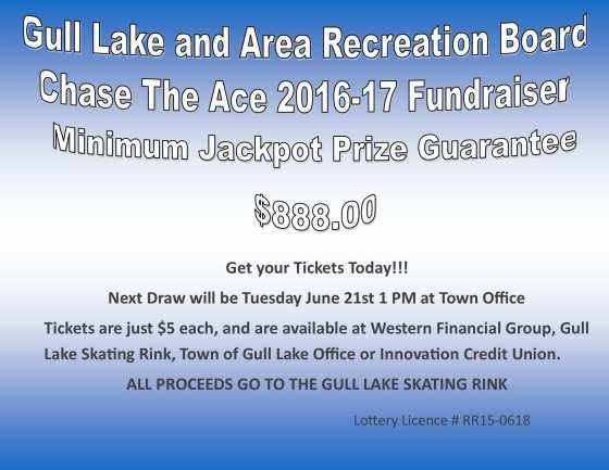 Alvin Berger Wins this Weeks Chase the Ace Draw GULL LAKE  Gull Lake Recreation Complex