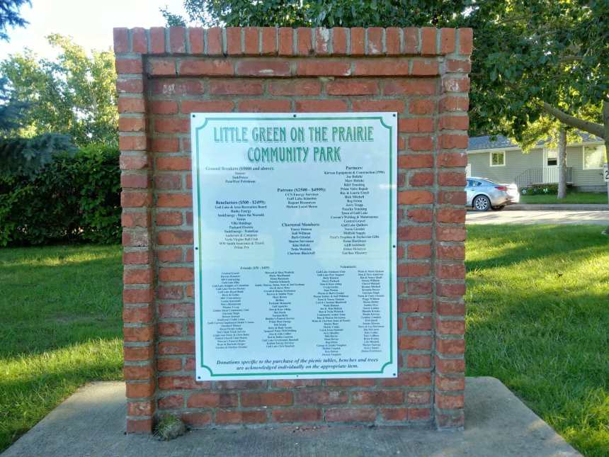 Little Green on the Prairie Community Park Gets a New Commemorative Sign GULL LAKE Town Beautification  Little Green on the Prairie Community Park Communities in Bloom