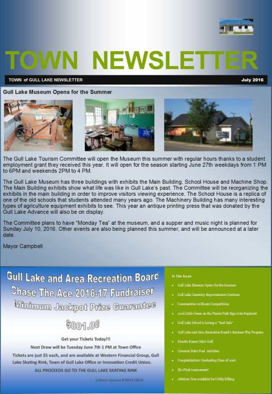 Town July 2016 Newsletter Education Government GULL LAKE Health & Wellness Town Beautification  Newsletter Kinette Community Miniature Golf Course Gull Lake School Gull Lake Museum Gull Lake Green Power Ball Diamonds Gull Lake Cemetery Committee Crescent Point Pool Community