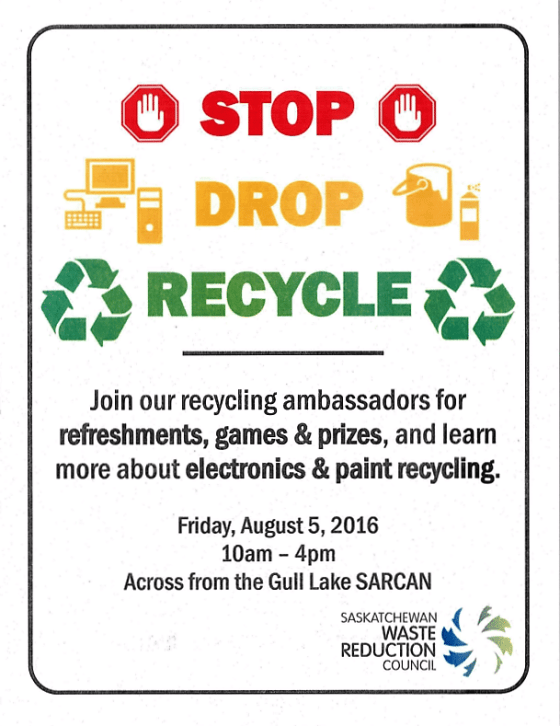 STOP  DROP  RECYCLE Event in Gull Lake Education GULL LAKE  Environment Community