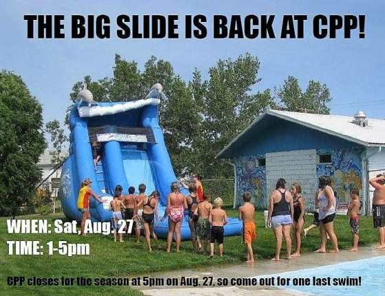 Big Slide is Back at Crescent Point Pool GULL LAKE Health & Wellness  Events Crescent Point Pool Community