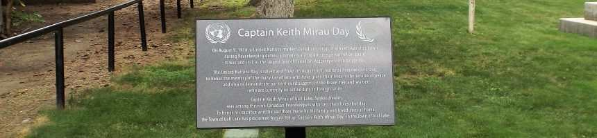 """Captain Keith Mirau Day"" August 9th Every Year in Gull Lake Saskatchewan GULL LAKE  Videos Proclomation Canada"