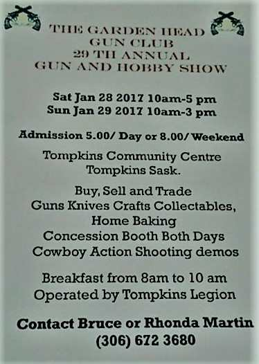 The Garden Head Gun Club 29th Annual Gun and Hobby Show SouthWest Saskatchewan  Events