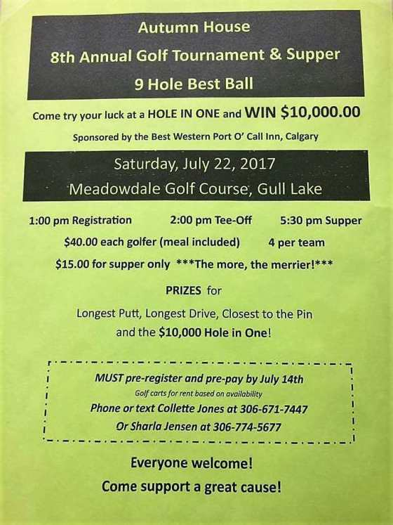 Autumn House 8th Annual Golf Tournament & Supper GULL LAKE  Events Community Autumn House Independent Living Facility