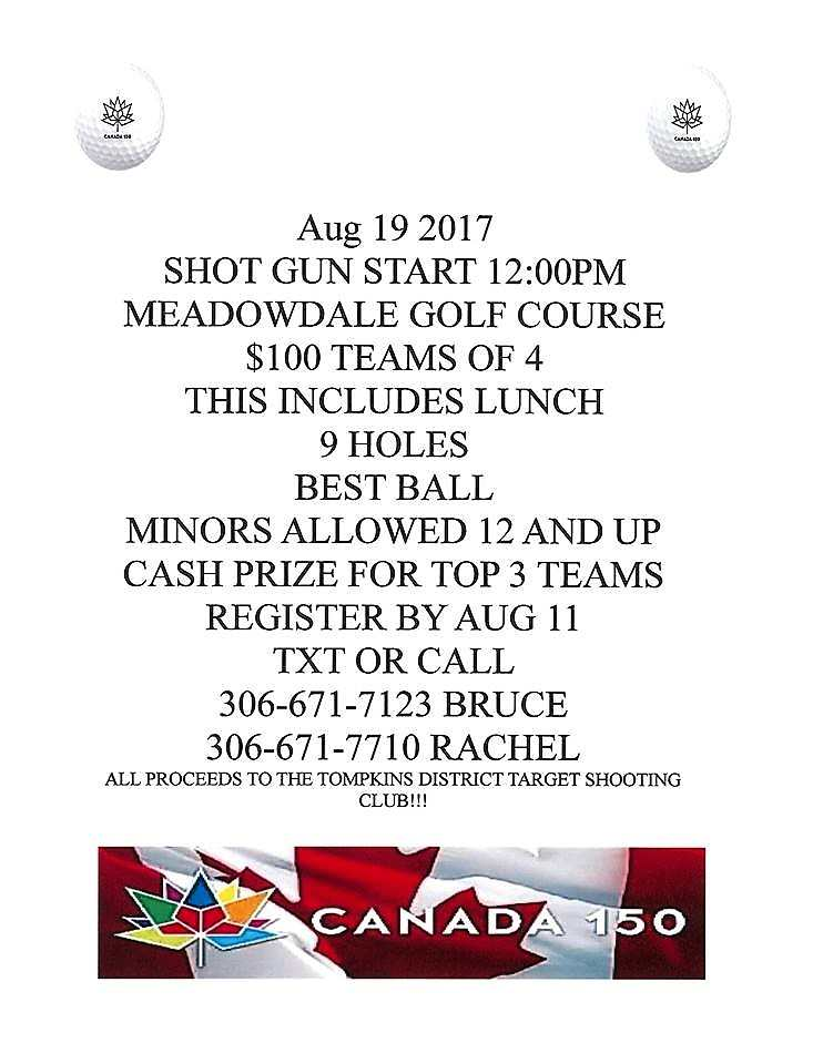 Register Now for the Gull Lake Canada 150 Shotgun Start Golf Tournament GULL LAKE SouthWest Saskatchewan Tourism  Meadowdale Golf Course Events