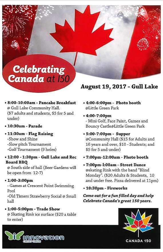 Come to Gull Lake on Saturday, August 19th, 2017 and Celebrate Canada's 150th Birthday With Us Business GULL LAKE SouthWest Saskatchewan Tourism  Events