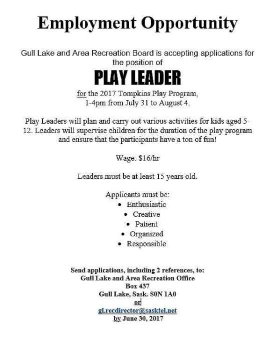 "Gull Lake and Area Recreation Board is Accepting Applications for the Position of ""Play Leader"" for the Tompkins Play Program Health & Wellness SouthWest Saskatchewan  Jobs"