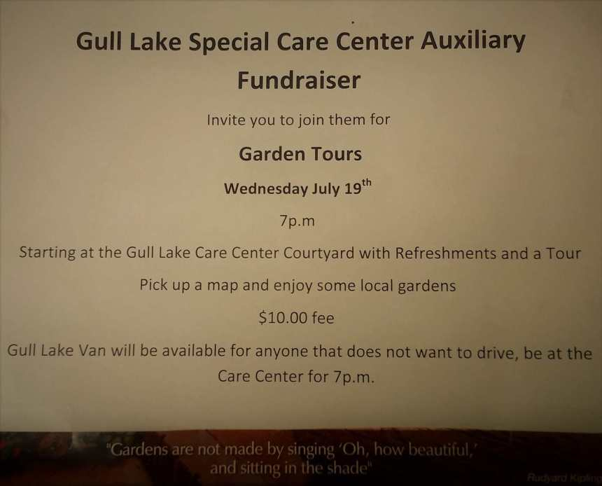 The Gull Lake Special Care Centre Auxiliary Invite You to Join Them for Garden Tours GULL LAKE Town Beautification  Gull Lake Special Care Centre Events