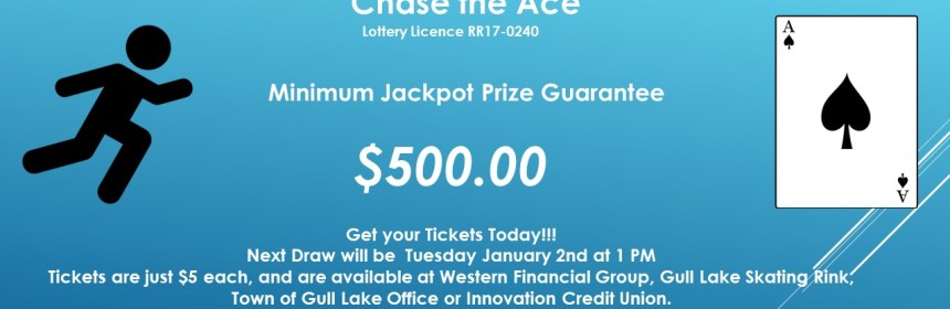DEB HUBBARD WINS THIS WEEK'S CHASE THE ACE DRAW GULL LAKE  Gull Lake Recreation Complex