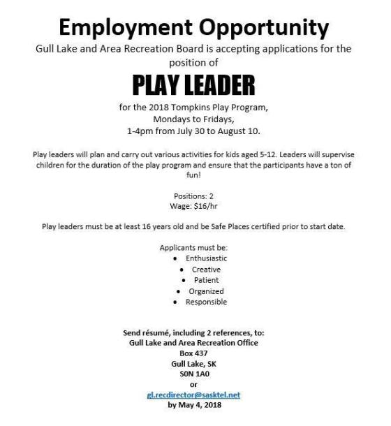 Gull Lake Recreation Board Employment Opportunities GULL LAKE SouthWest Saskatchewan  Tompkins Jobs Community