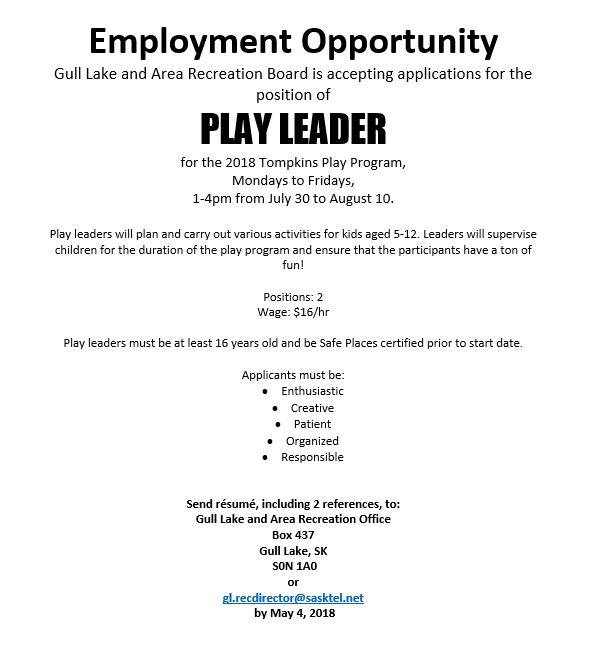 Gull Lake Recreation Board Employment Opportunities GULL LAKE SouthWest Saskatchewan  Tompkins Jobs Gull Lake & Area Recreation Board