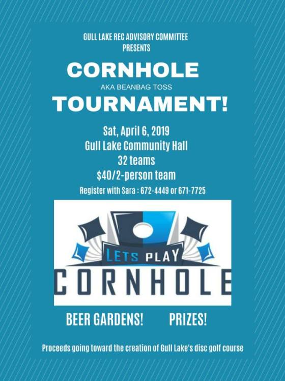 Sign Up Today for Gull Lake's Cornhole Tournament GULL LAKE SouthWest Saskatchewan  Recreation Advisory Committee Events