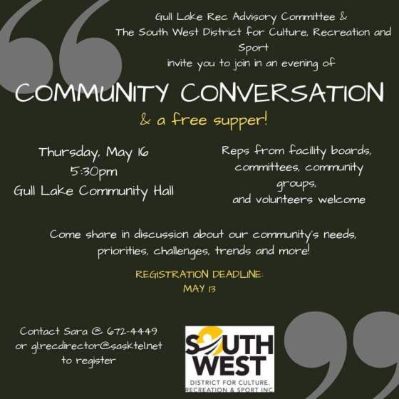 """Gull Lake Rec Advisory & SW District for Culture, Recreation and Sport Host a """"Community Conversation"""" GULL LAKE Health & Wellness  Recreation Advisory Committee Gull Lake Recreation Complex"""
