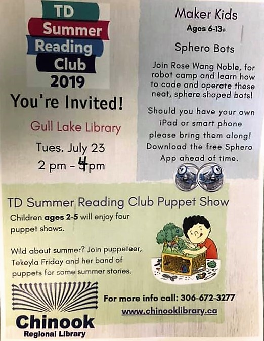 Puppet Show and Maker at the Gull Lake Library GULL LAKE  Gull Lake Library