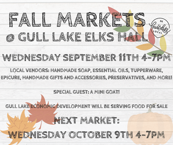 Fall Markets at the Gull Lake Elks Hall Business Economic Development GULL LAKE SouthWest Saskatchewan  Small Business Elks Hall Economic Development Committee
