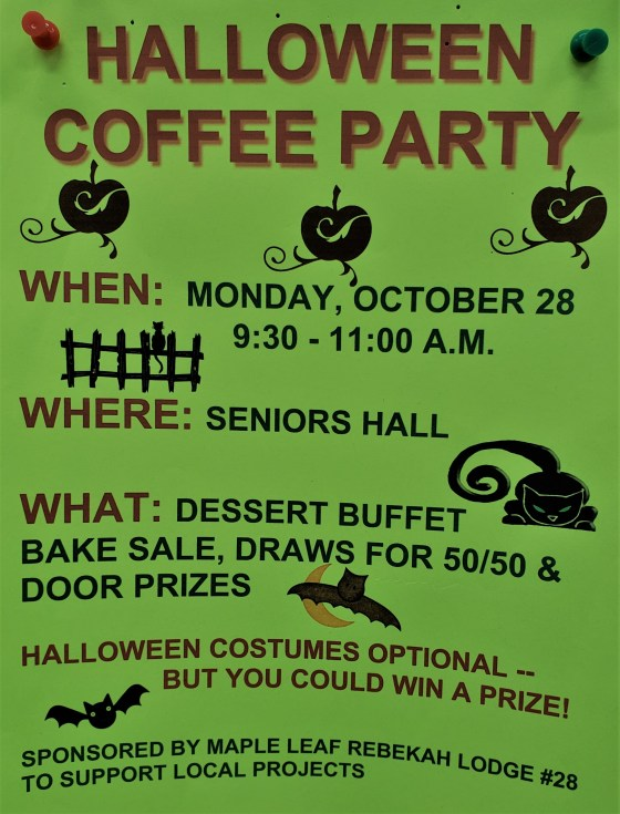 Halloween Coffee Party at the Seniors Hall GULL LAKE  Community
