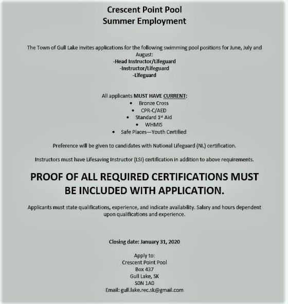 Crescent Point Pool Summer Employment Opportunity GULL LAKE  Jobs Crescent Point Pool