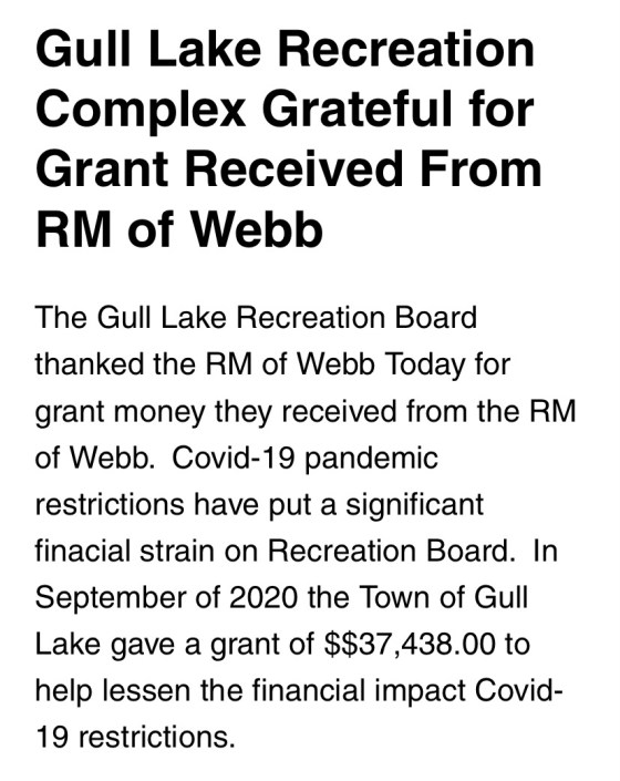 Gull Lake Rink Thanks the R.M. Of Webb No. 138 Government Health & Wellness  Gull Lake Recreation Complex