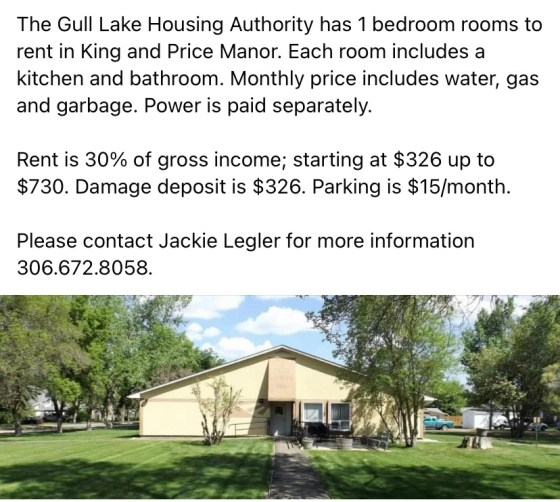 One Bedroom Rooms for Rent at King and Price Manor GULL LAKE SouthWest Saskatchewan  Housing Events Community