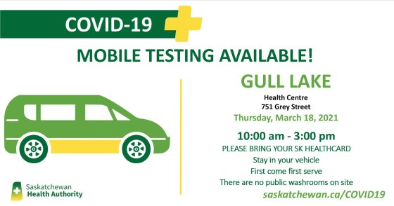 Mobile Testing Available in Gull Lake on Thursday March 18, 2021 Health & Wellness