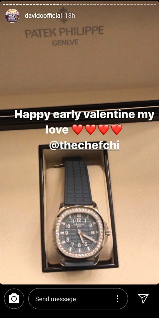 Davido Showing His Valentine Gift To His Fiancee