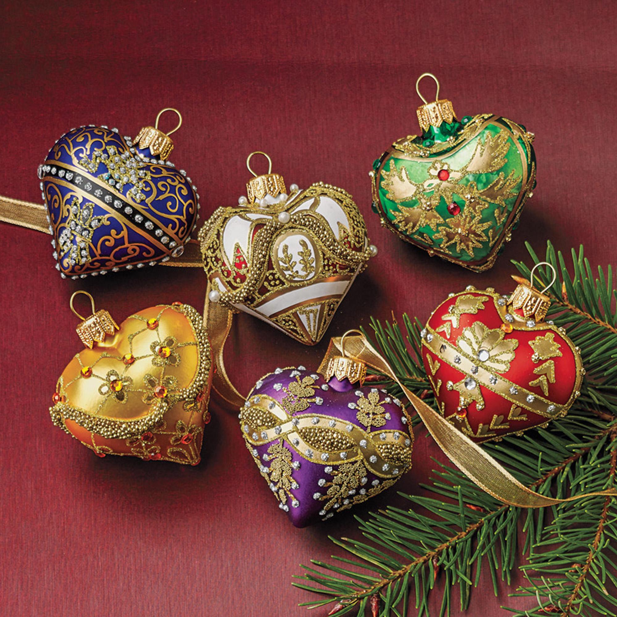 Embellished Heart Christmas Ornament Set Gumps
