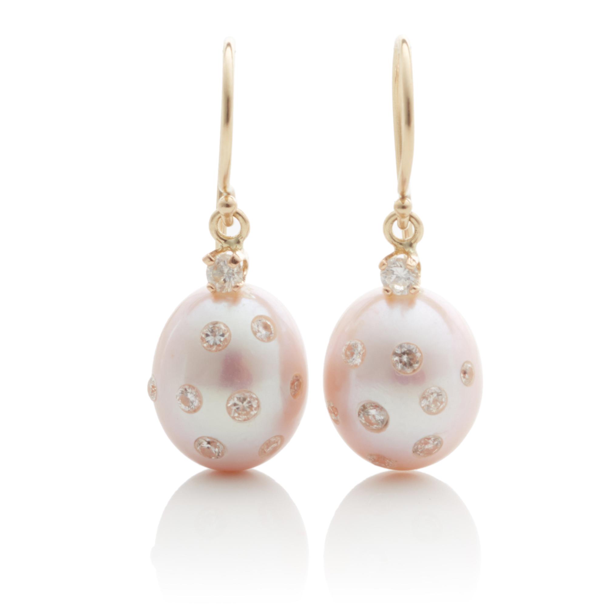 Russell Trusso Diamond Embedded Pink Pearl Drop Earrings