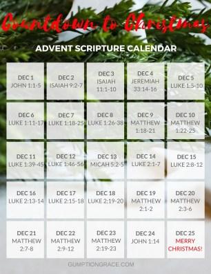 Countdown to Christmas: Advent Scripture Calendar GumptionGrace.com