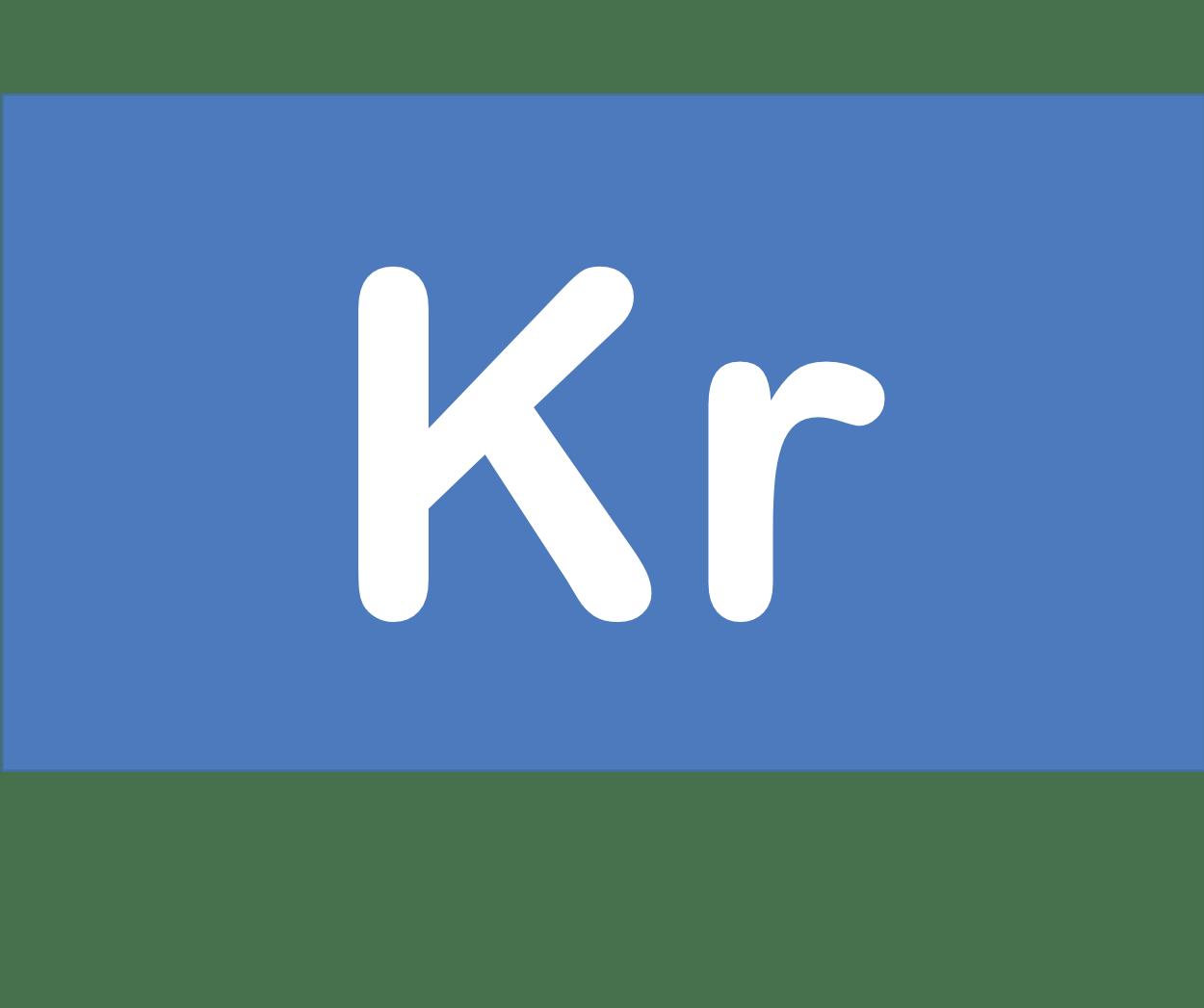 36 Kr クリプトン Krypton 元素 記号 周期表 化学 原子
