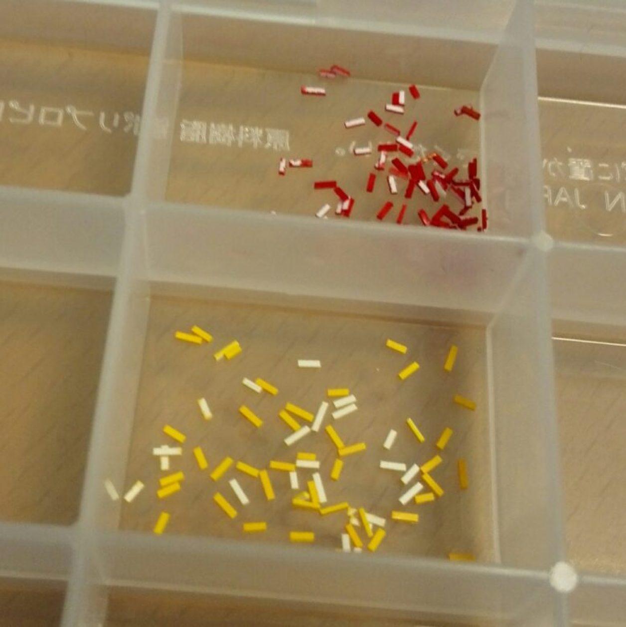 ガンプラ制作の改造によるディテールアップのカラーチップの作成方法と保管方法の画像
