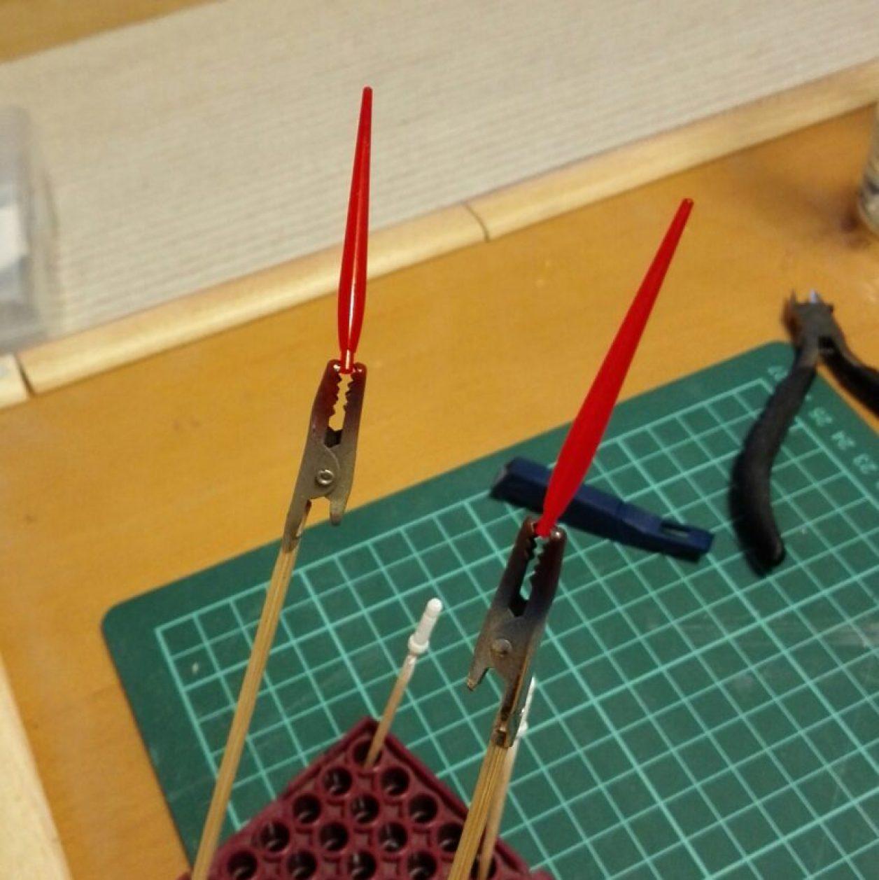 モビルスーツアンサンブルの武器のガンダムマーカーエアブラシによる塗装画像