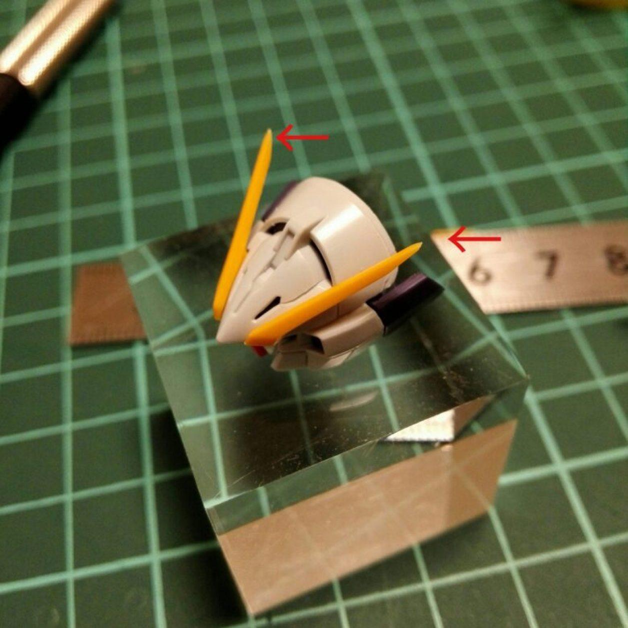 プレミアムバンダイ限定販売のhguc ガンダムtr-6[ウーンドウォート]のアンテナのピンを切り落とした画像