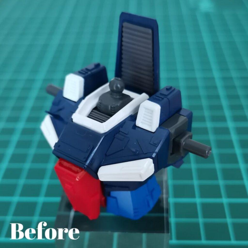 hguc zzガンダムの胸部ユニットにカラーチップを貼り付けて墨入れする前の画像