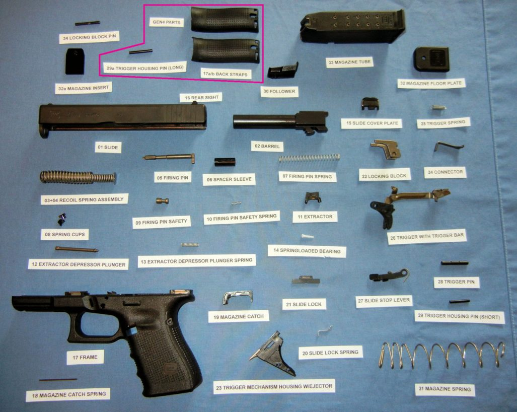 A Glock Series Pistol labeled and broken down into its 34 parts.