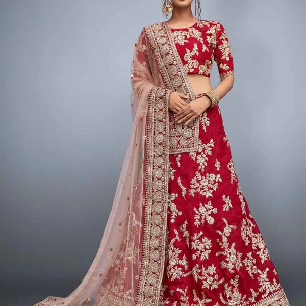 Red Bridal Wear Embrodered Lehenga Choli 812