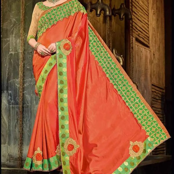 Indian Women orange color silk Saree 30210