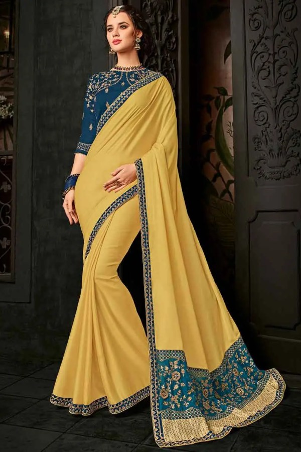 Indian Women beige color cotton silk Saree 30247