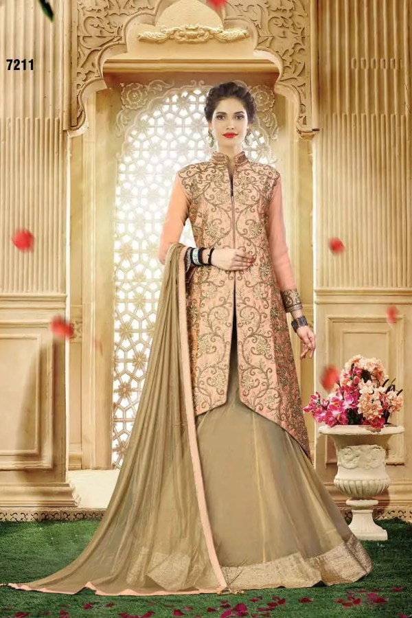Adorable Chiku Color Wedding Wear Silk Lehenga 7211