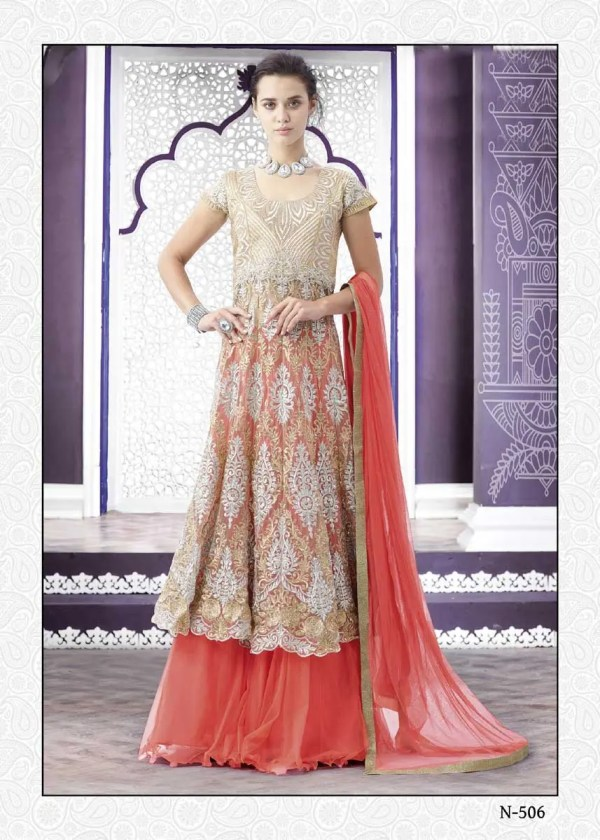Beautiful Peach Color Embrodered Net Lehenga N-506