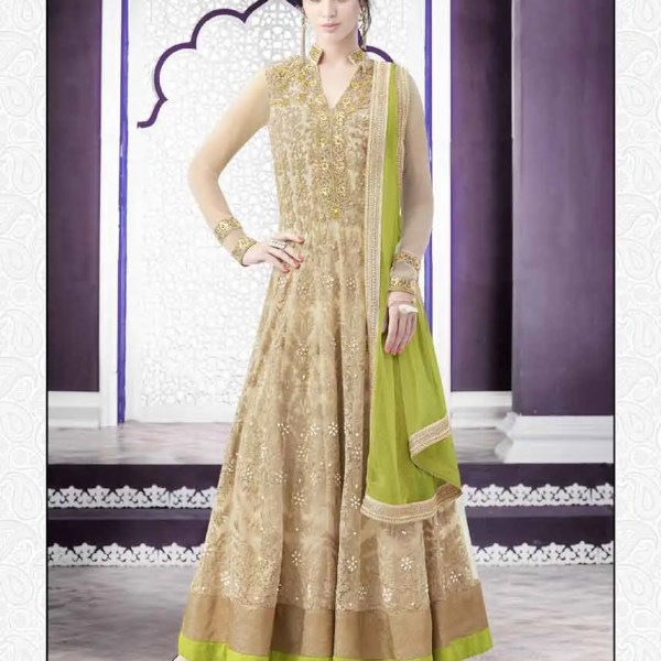 Stunning Beige Color Heavy Work Net Lehenga N-508
