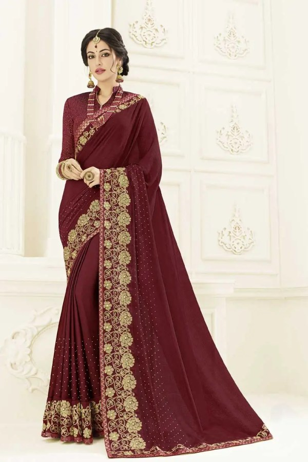 Exclusive Maroon Color Two Tone Chiffon Pattern Saree 22140
