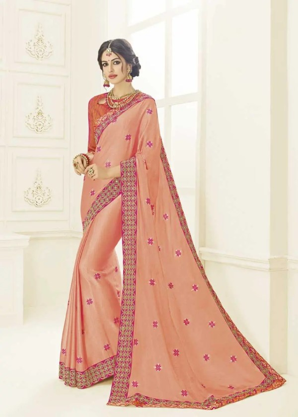 Regal Pink Color Two Tone Moss Chiffon Saree 22149