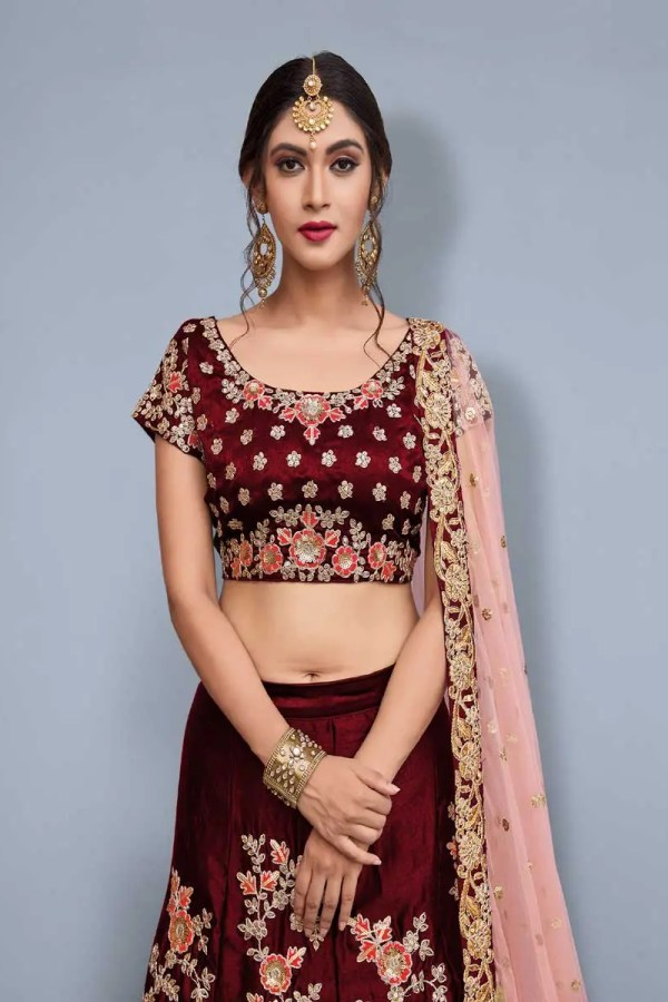 Adorable Maroon Color Floral Embrodered Velvet Lehenga Ad745 A