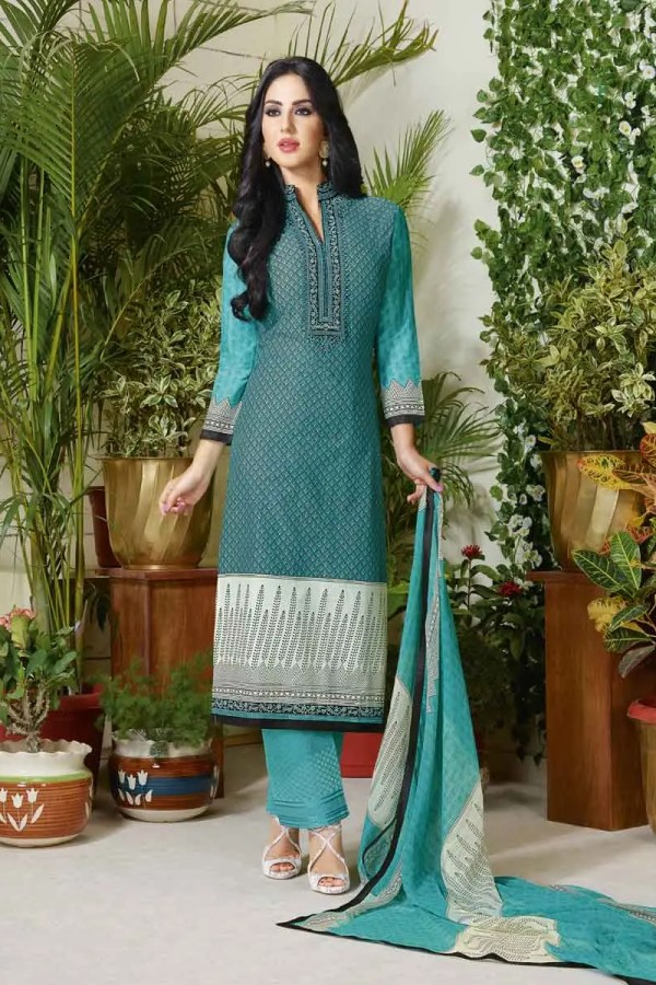 Sky Blue Color Cotton Lawn Printed Daily Wear Salwar Kameez 3505