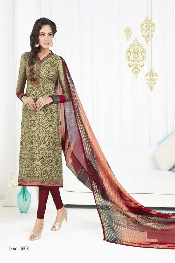 Golden Color French Crape Printed Daily Wear Salwar Kameez 3608