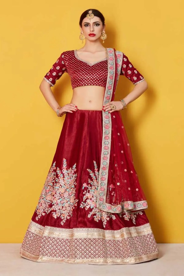 Stylish Maroon Color Velvet Silk Party Wear Lehenga-816
