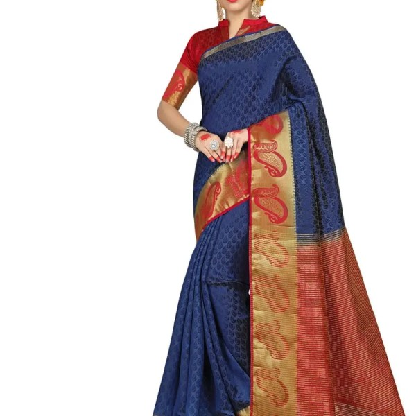 Amazing Blue And Red Color Embossed Jacquard Saree-1722